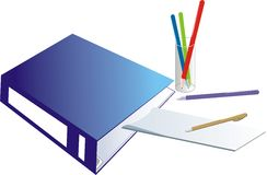 Folder-binder and glass with pencils Royalty Free Stock Photography