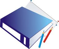 Folder-binder and pencils royalty free stock images