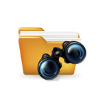Folder and binoculars icon; search concept  on white Stock Images