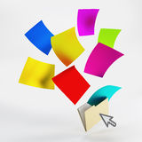 Folder with blank of colorful papers Stock Images