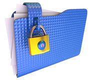 Folder. The blue folder with golden hinged lock Stock Photo