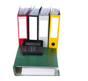 Folder with calculator Stock Photography