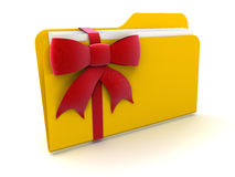 Folder with Celebration Bow (clipping path included) Stock Photo