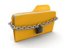 Folder and chain (clipping path included) Royalty Free Stock Photos