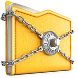Folder. With chain and combination lock. isolated on white background Royalty Free Stock Image