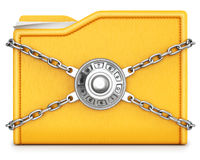 Folder. With chain and combination lock.  on white background Stock Photo