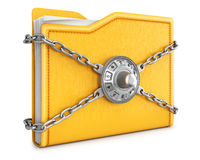 Folder. With chain and combination lock.  on white background Royalty Free Stock Image