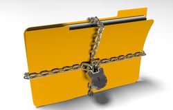 Folder with chain and padlock, hidden data, security, 3d render Royalty Free Stock Photo