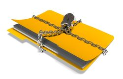 Folder with chain and padlock, hidden data, security, 3d render Royalty Free Stock Image