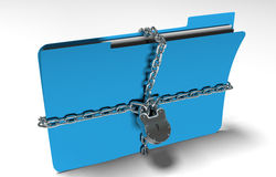 Folder with chain and padlock, hidden data, security, 3d render. A file folder with chain and padlock closed. privacy and data security Stock Image
