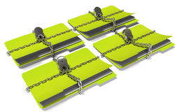 Folder with chain and padlock, hidden data, security, 3d render Stock Images