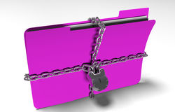 Folder with chain and padlock, hidden data, security, 3d render. A file folder with chain and padlock closed. privacy and data security Royalty Free Stock Photo