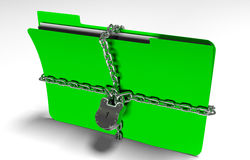Folder with chain and padlock, hidden data, security, 3d render Royalty Free Stock Photos