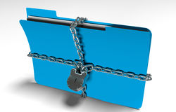 Folder with chain and padlock, hidden data, security, 3d render. A file folder with chain and padlock closed. privacy and data security Stock Images