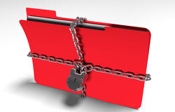 Folder with chain and padlock, hidden data, security, 3d render. A file folder with chain and padlock closed. privacy and data security Stock Photo