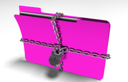 Folder with chain and padlock, hidden data, security, 3d render. A file folder with chain and padlock closed. privacy and data security Royalty Free Stock Photography