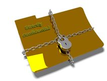 Folder with chain and padlock, hidden data, security, 3d render Stock Photography