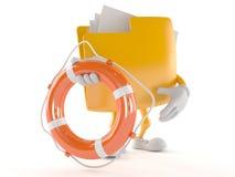 Folder character holding life buoy. Isolated on white background Stock Photos
