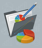 Folder With Chart And Pencil Royalty Free Stock Photography