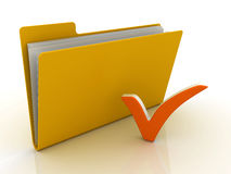 Folder with check mark. 3D render Stock Images