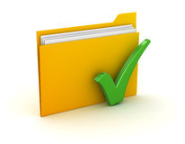 Folder and Check Mark. This is a computer generated and 3d rendered picture Stock Photography