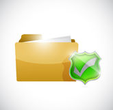 Folder and check mark shield illustration design Stock Images