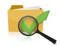 Folder and checkmark magnifier. Illustration design over white Stock Image