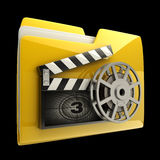 Folder clap board with countdown. Yellow folder clap board with countdown isolated on black  background High resolution 3D Royalty Free Stock Photo