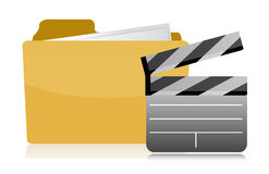 Folder and clapper over white Royalty Free Stock Images