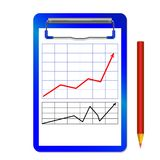 Folder with clip with graph with arrow red  black and color pencil. Folder with clip with diagram and color pencil and pen  isolated on white Royalty Free Stock Image