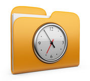 Folder with clock. 3D Icon isolated. Folder with clock. Office concept. 3D Icon isolated Royalty Free Stock Image