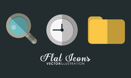Folder, clock and lupe icon. Office Instrument design. Vector gr Royalty Free Stock Images