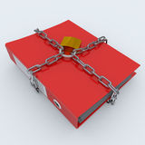 Folder closed by a chain and padlock. Computer generated image Royalty Free Stock Photo
