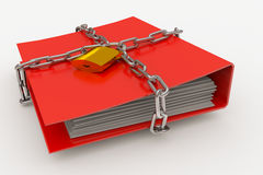 Folder closed by a chain and padlock. Computer generated image Royalty Free Stock Photos