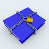 Folder closed by a chain and padlock. Computer generated image Stock Photos