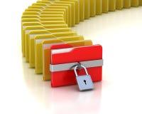 Folder with closed padlock and many opened folders. One red folder with closed padlock and many opened folders Stock Photo