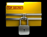 Folder with closed padlock (Top secret). Isolated on black background High resolution. 3D image Royalty Free Stock Photos