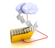 Folder and cloud. Folders connedted in sync with cloud server. 3D render Royalty Free Stock Photo