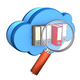 Folder Cloud Loupe. Blue cloud with folders and loupe on the white background Royalty Free Stock Image