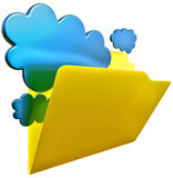 Folder for cloud storage. Folder with blue clouds as symbol of cloud storage Royalty Free Stock Photo