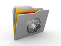 Folder with the coded lock Royalty Free Stock Image