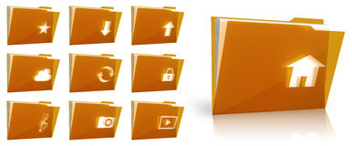 Folder collection. Set of glossy folder icons Royalty Free Stock Photography