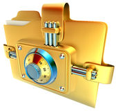 Folder with combination lock. Folder with golden combination lock stores confidential documents Royalty Free Stock Image