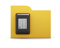 Folder with a combination lock. The concept of protection of the information in your computer. 3d render image Royalty Free Stock Photo
