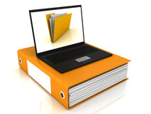 Folder and computer Stock Photos