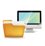 Folder and computer icon  on white Stock Image