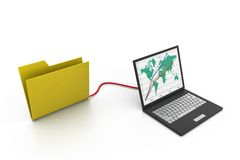 Folder connected to a computer. 3d illustration of  folder connected to a computer Royalty Free Stock Photos