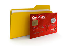 Folder and Credit Card (clipping path included) Royalty Free Stock Photos