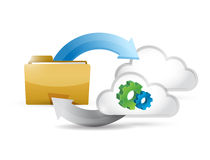 folder cycle clouds and gears illustration design Stock Photos