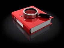 Folder. 3d illustration of binder folder and magnifying glass Stock Images